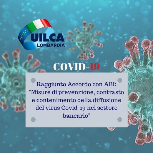 """Raggiunto Accordo con ABI: """"Misure di prevenzione, contrasto e contenimento della diffusione del virus Covid-19 nel settore bancario"""""""